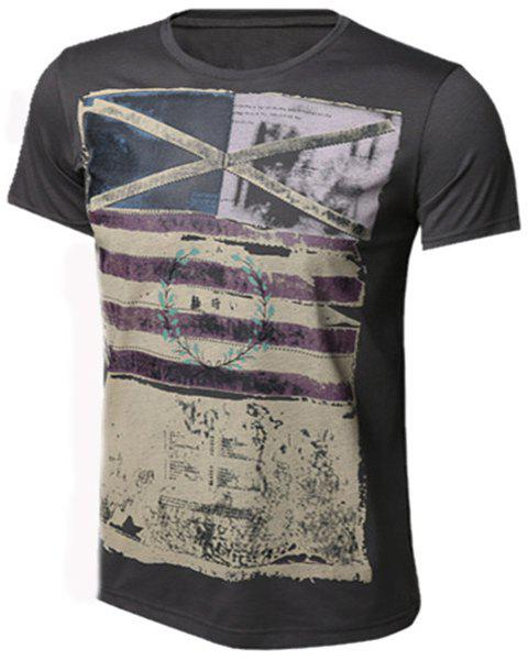 Slimming Round Neck Stripes Ombre Print Men's Short Sleeves T-Shirt - DEEP GRAY S