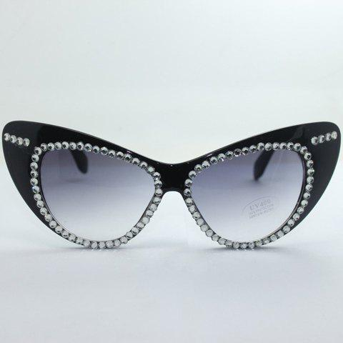 Chic Rhinestone Embellished Hot Summer Women's Black Cat Eye Sunglasses - BLACK
