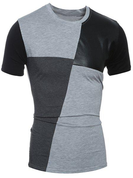 Round Neck Color Block PU-Leather Spliced Short Sleeve Men's T-Shirt - GRAY L