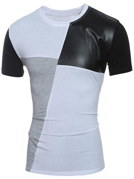 Round Neck Color Block PU-Leather Spliced Short Sleeve Men's T-Shirt - WHITE L