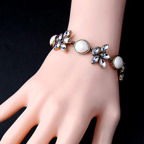 Vintage Artificial Gem Flower Water Drop Bracelet For Women