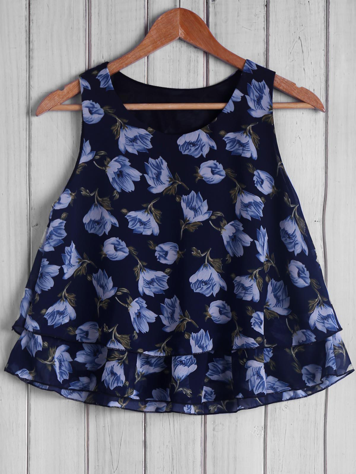 Trendy Sleeveless Round Collar Floral Print Loose-Fitting Women's Tank Top - CADETBLUE ONE SIZE(FIT SIZE XS TO M)