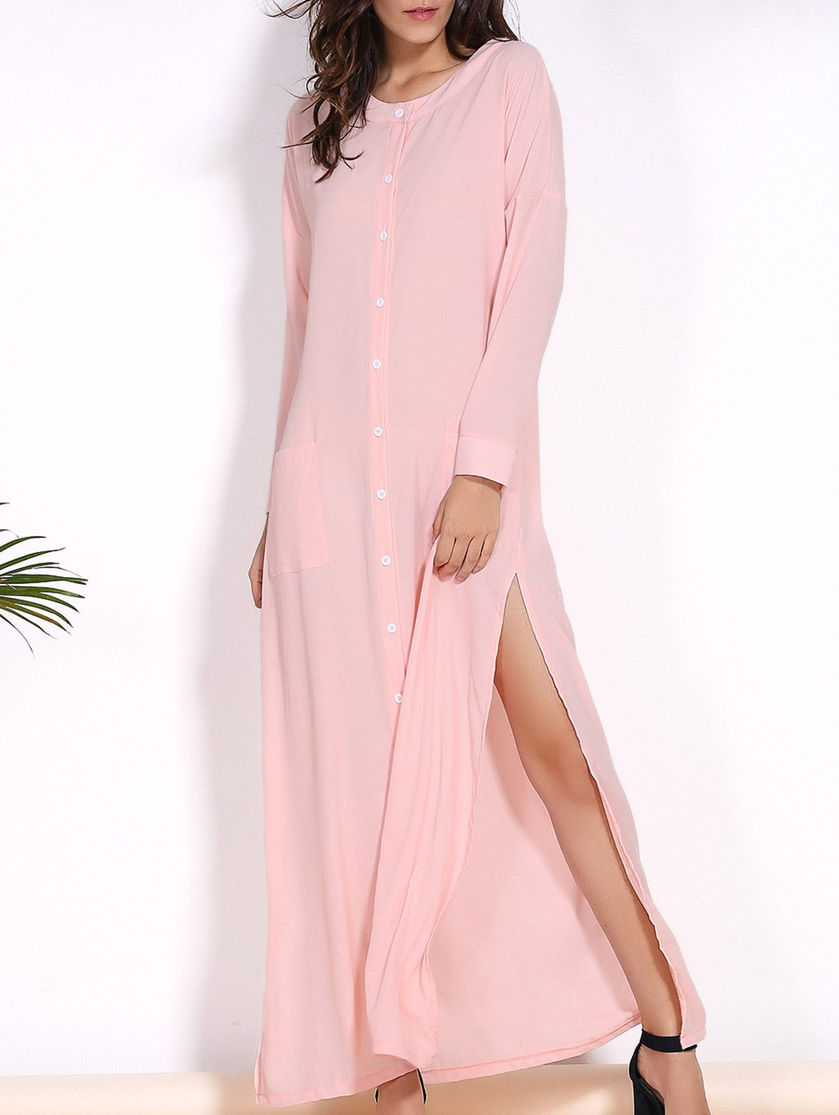 Trendy Round Collar Long Sleeve Pink High Slit Women's Cover-Up Dress - PINK S