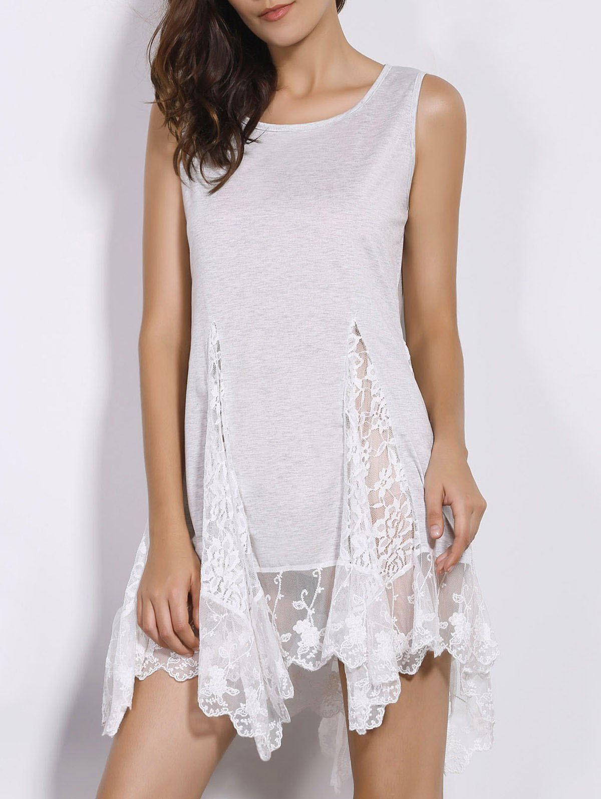 Sweet Women's Scoop Neck White Lace Spliced Dress - WHITE S