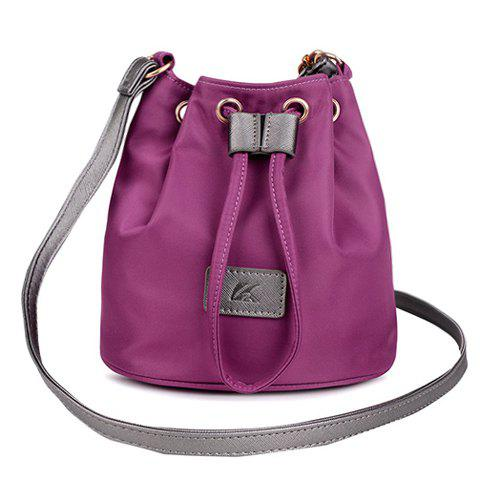 Simple Nylon and String Design Women's Shoulder Bag - PURPLE