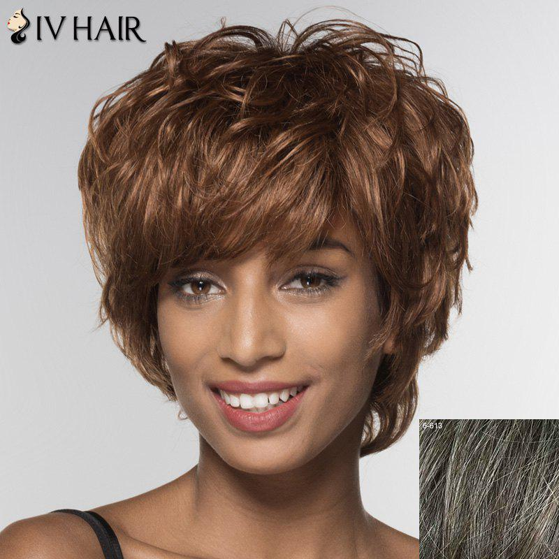 Stylish Short Siv Hair Side Bang Human Hair Wig For Women - DARKEST BROWN/GRAY