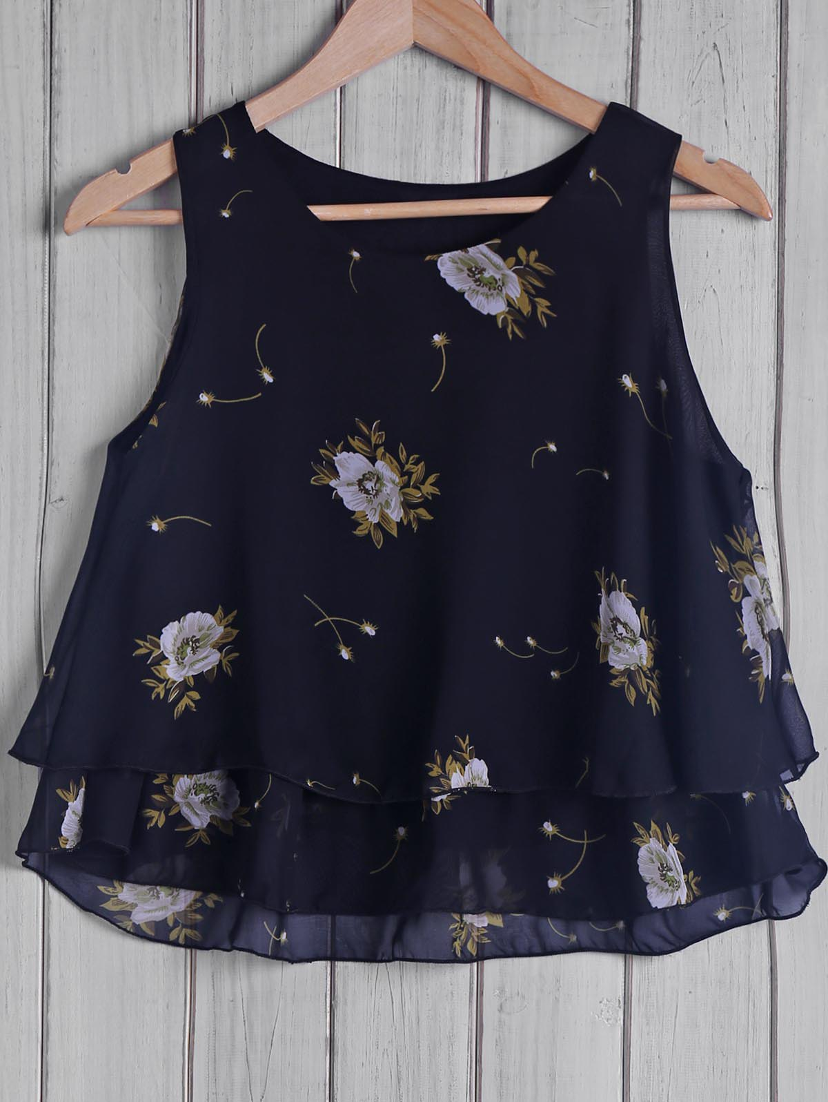 Trendy Round Collar Chiffon Floral Print Women's Tank Top - BLACK ONE SIZE(FIT SIZE XS TO M)