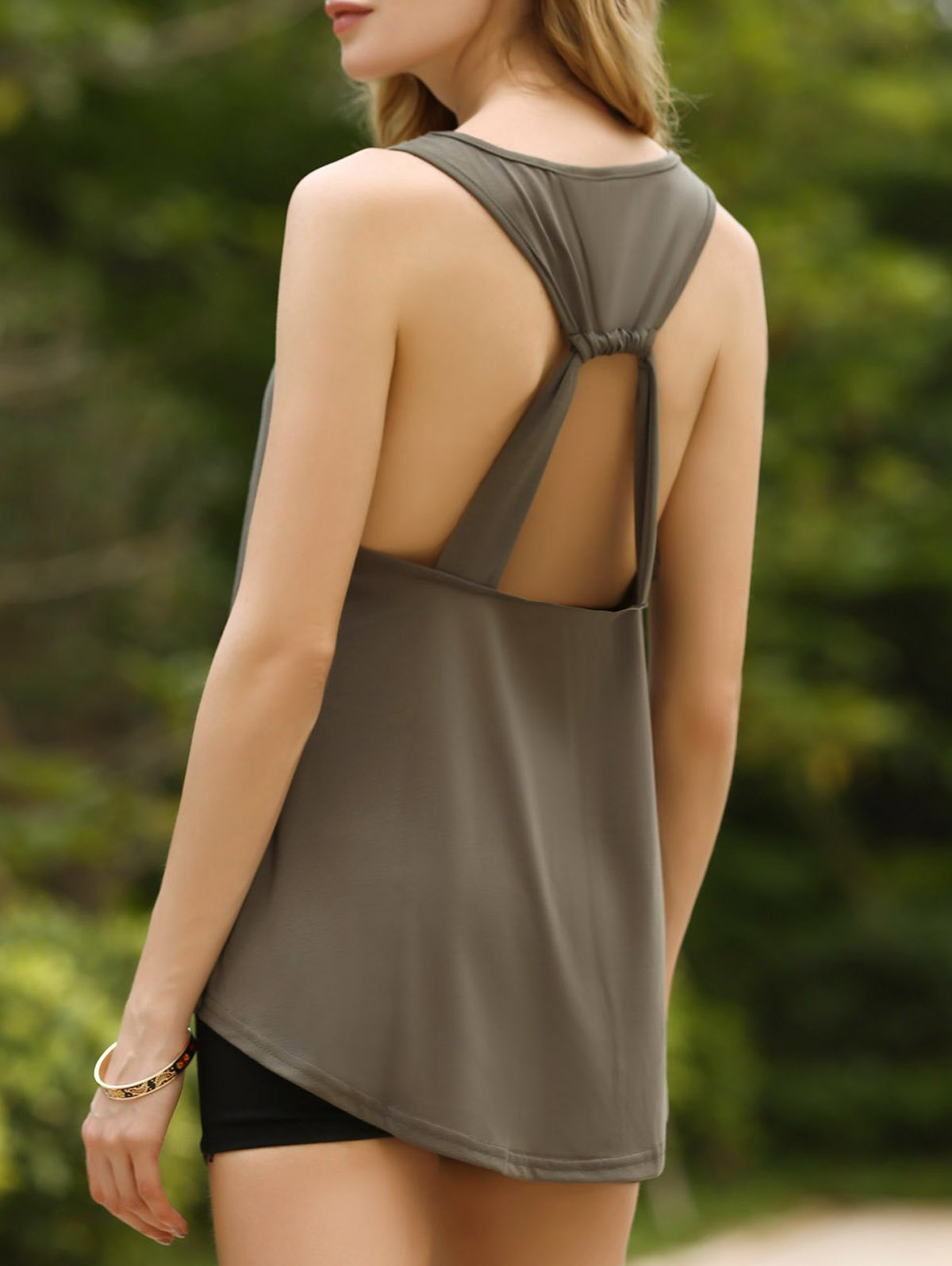 Chic Women's U-Neck Open Back Tank Top - ARMY GREEN M