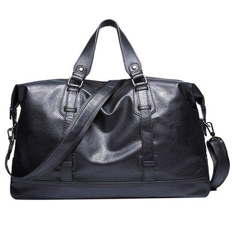 Leisure Black and PU Leather Design Men's Tote Bag - BLACK