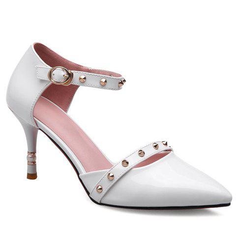 Fashion Rivets and Pointed Toe Design Womens PumpsShoes<br><br><br>Size: 38<br>Color: WHITE