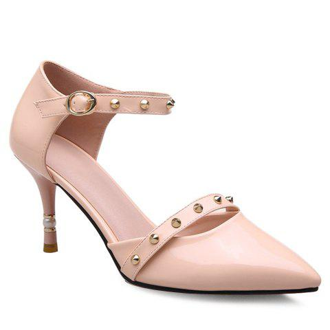 Fashion Rivets and Pointed Toe Design Women's Pumps - 34 LIGHT PINK
