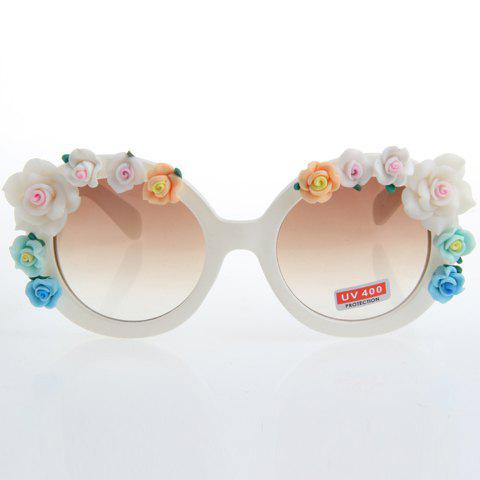 Chic Flower Embellished Hot Summer Women's White Sunglasses - WHITE