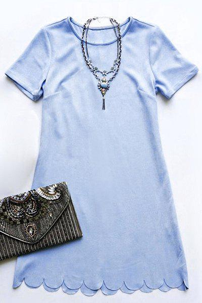 Scalloped Mini A Line Dress - LIGHT BLUE L
