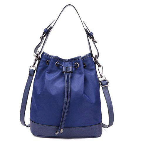 Fashionable Splicing and String Design Women's Shoulder Bag - BLUE
