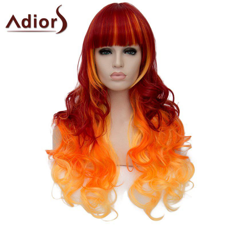 Fluffy Long Wave Synthetic Gorgeous Full Bang Three Color Gradient Capless Adiors Wig For Women
