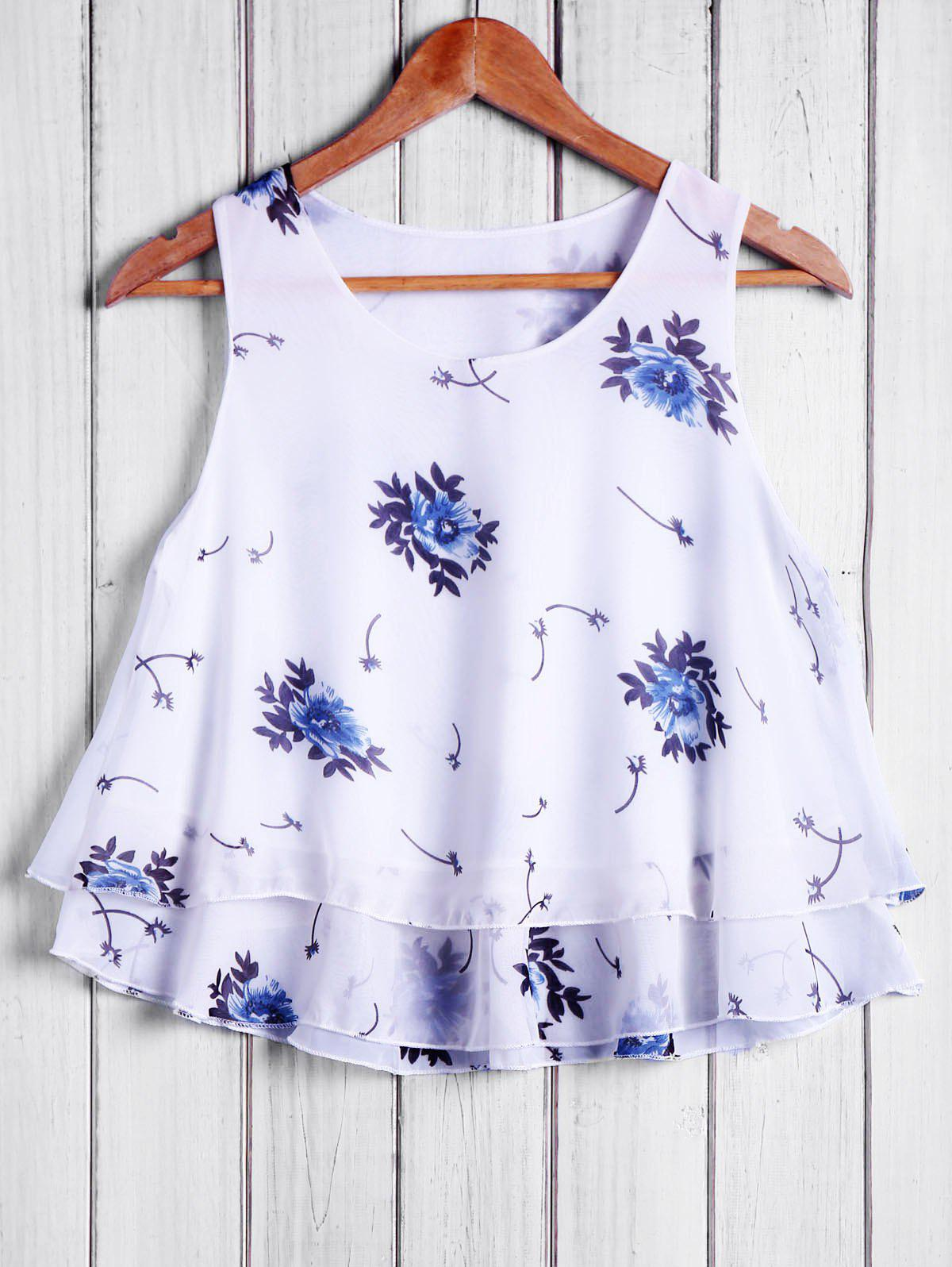 Refreshing Round Collar Chiffon Floral Print Women's Tank Top - WHITE ONE SIZE(FIT SIZE XS TO M)