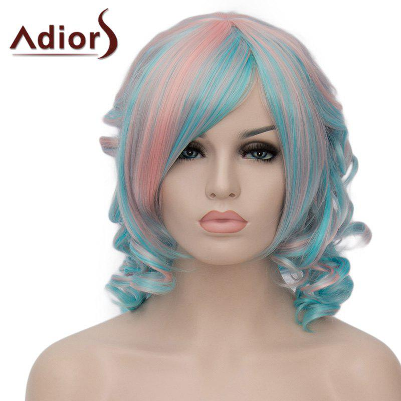Fluffy Short Curly Side Bang Stunning Pink Mixed Green Synthetic Adiors Wig For Women - COLORMIX