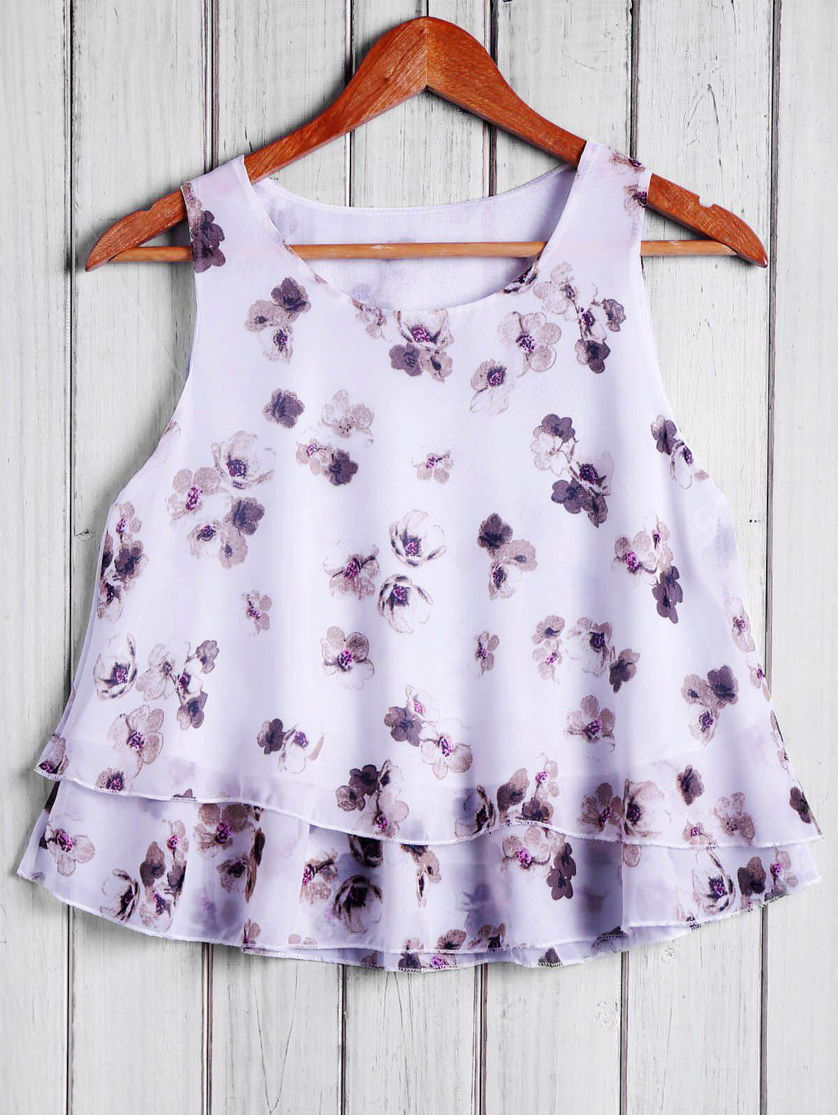 Fashionable Round Collar Chiffon Tiny Floral Print Women's Tank Top - WHITE ONE SIZE(FIT SIZE XS TO M)