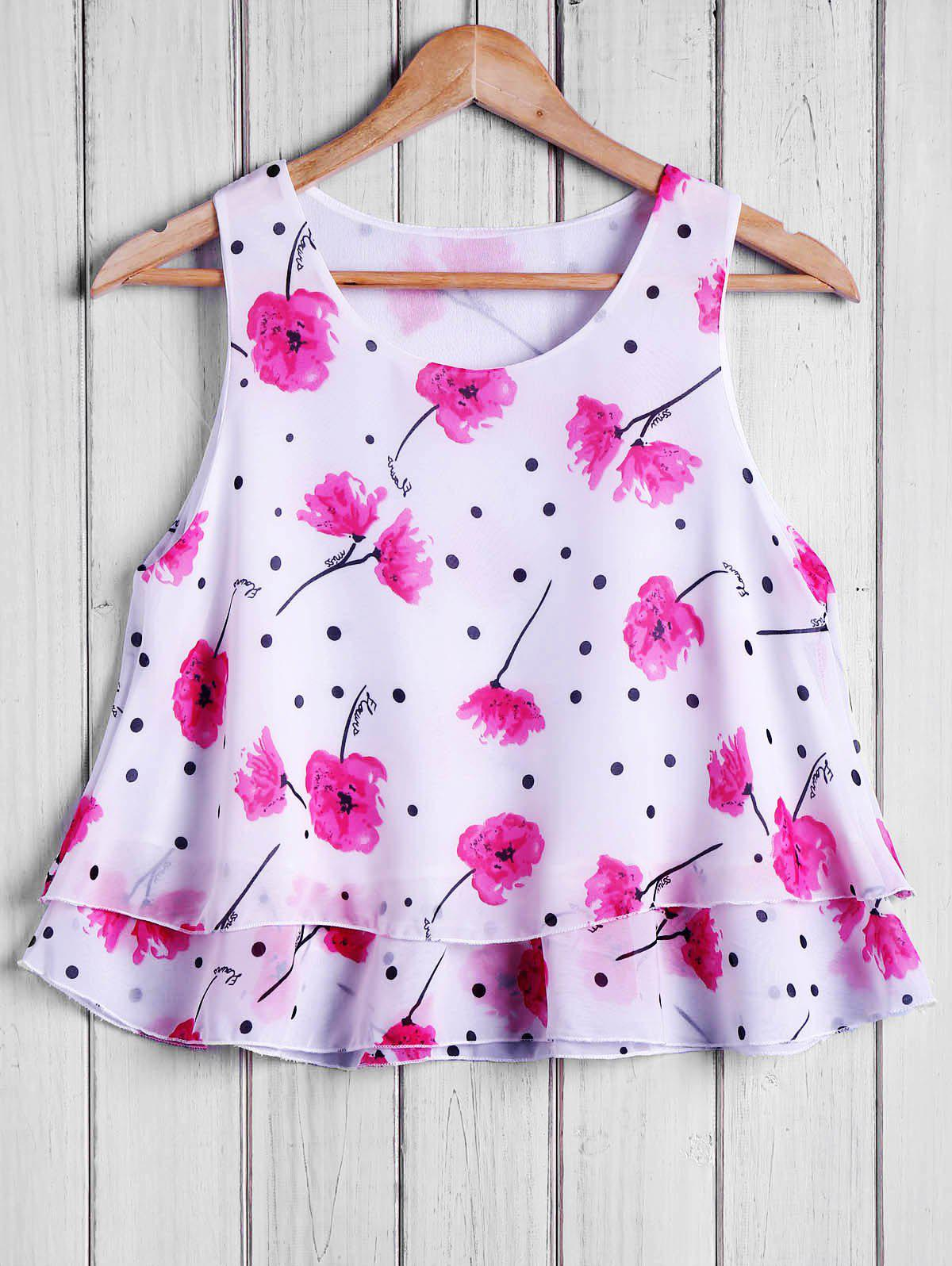 Stylish Round Collar Polka Dot Chiffon Floral Print Women's Tank Top
