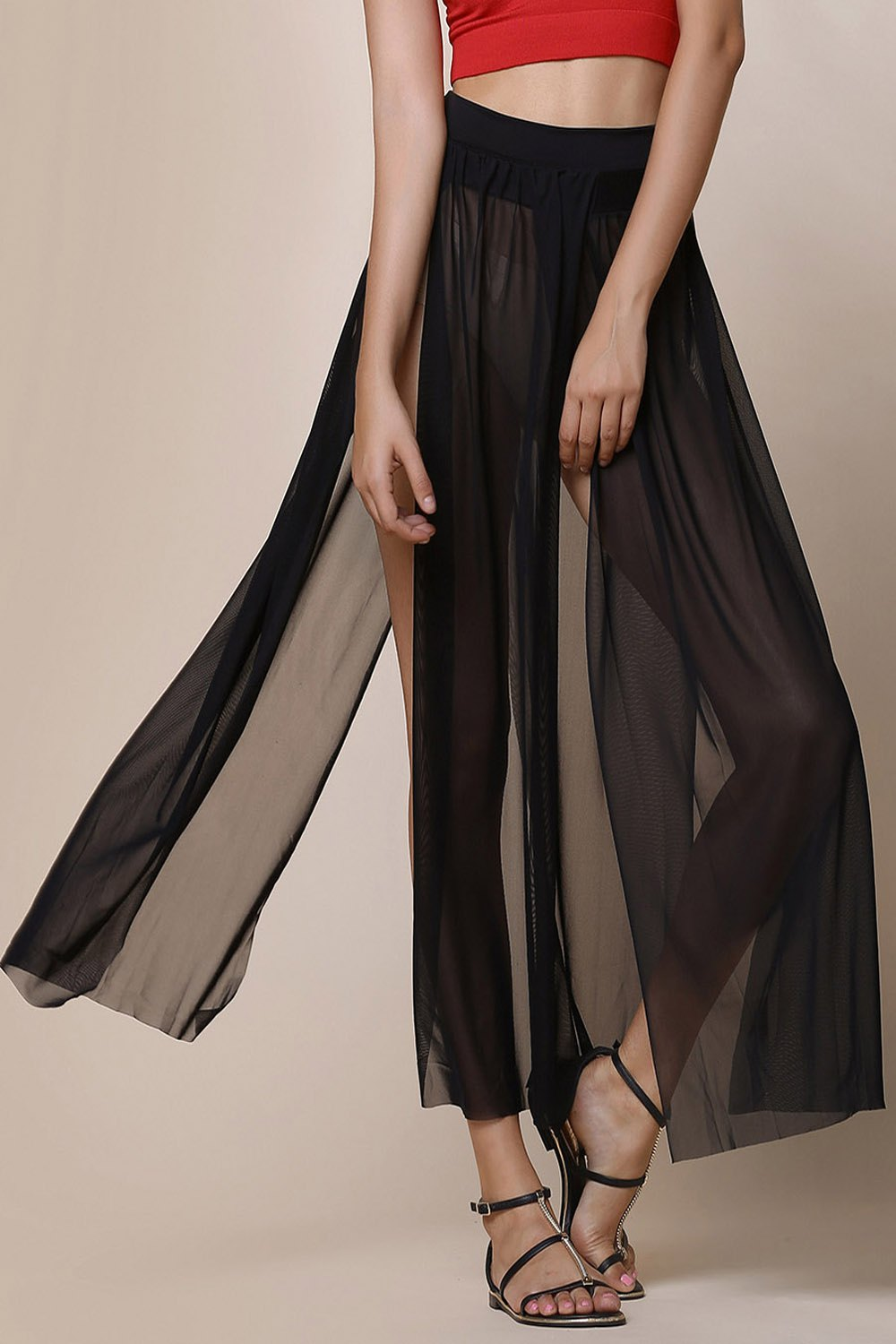 Stylish Low-Waisted High Slit Solid Color Women's Skirt