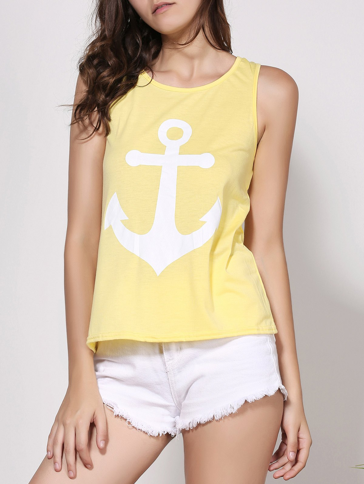 Stylish Scoop Neck Sleeveless Bowknot Embellished Printed Women's Tank Top - YELLOW S