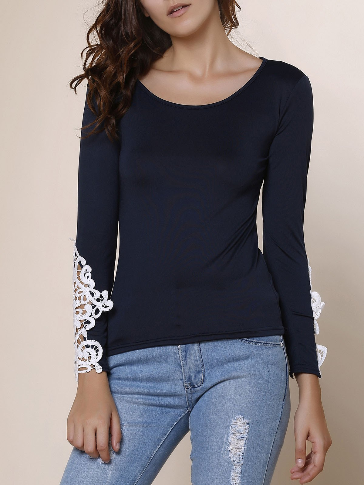 Stylish Women's Scoop Neck Long Sleeve Lace Embellished T-Shirt - DEEP BLUE S