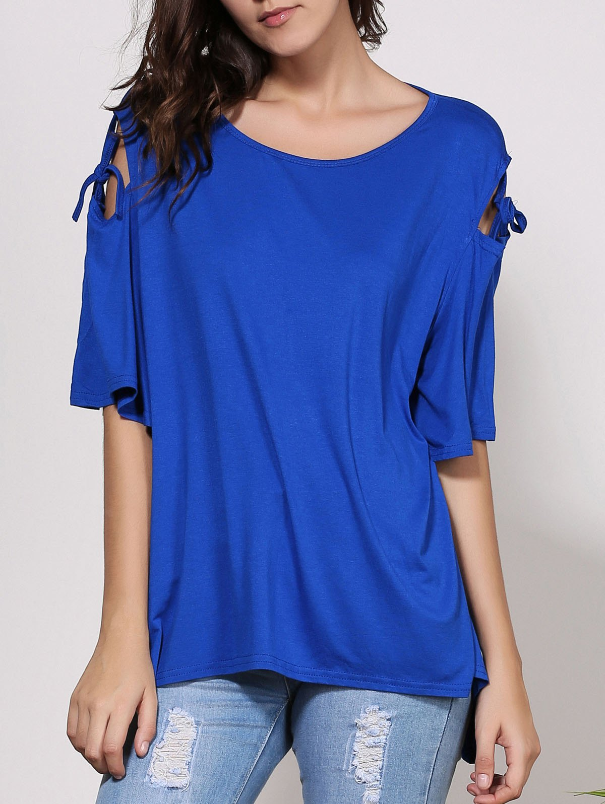 Fashionable Women's Scoop Neck Solid Color Cut Out Short Sleeve T-Shirt - BLUE XL
