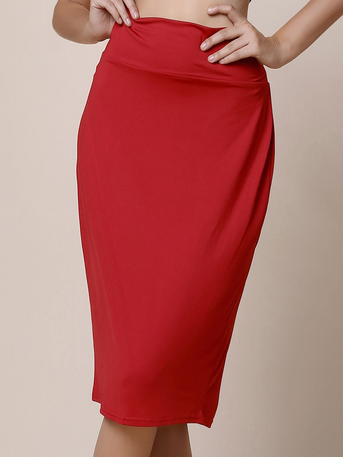High-Waisted Work Bodycon Midi Skirt - RED L