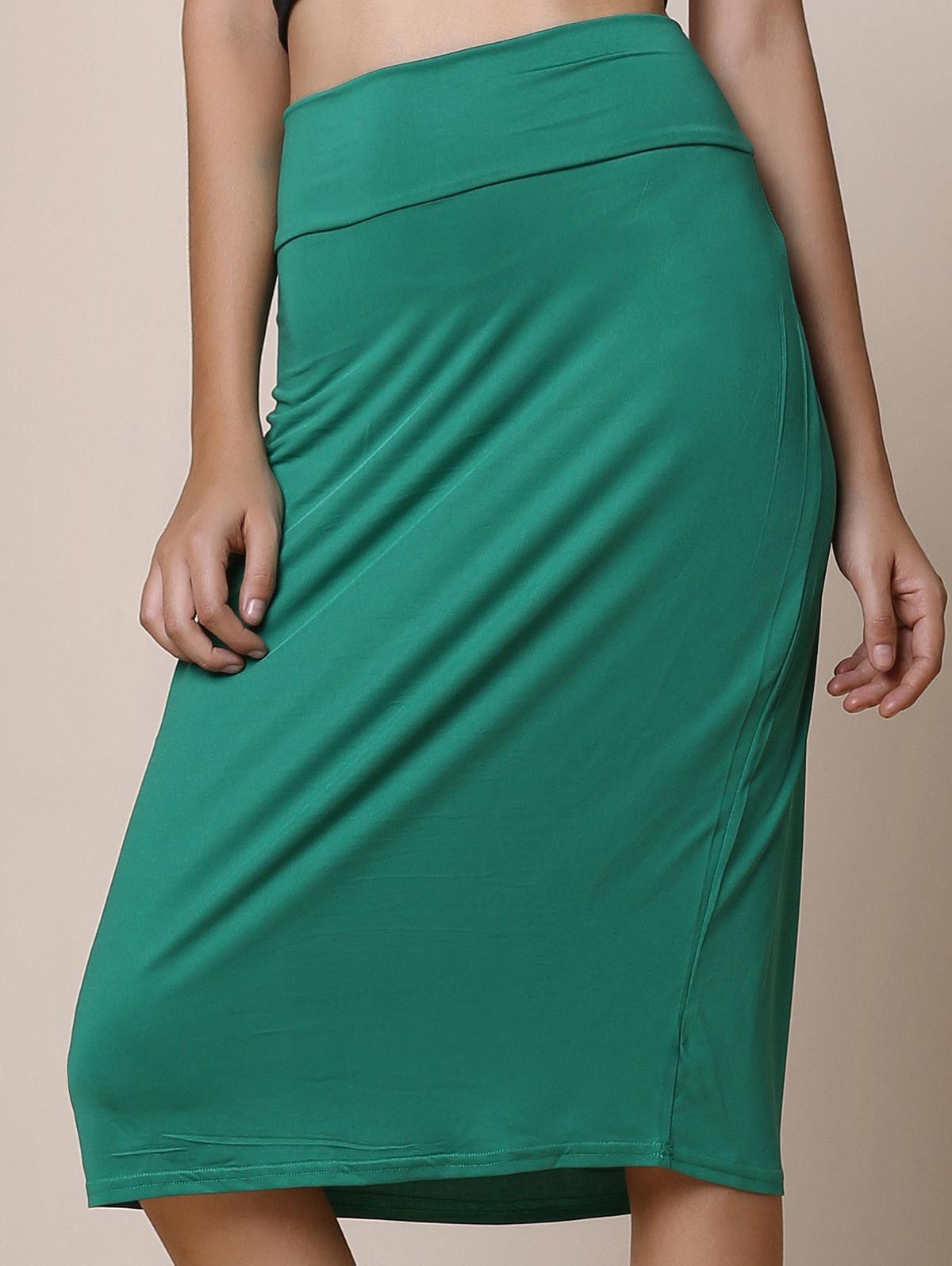 Work Style Solid Color High-Waisted Women's Midi Skirt - GREEN XL