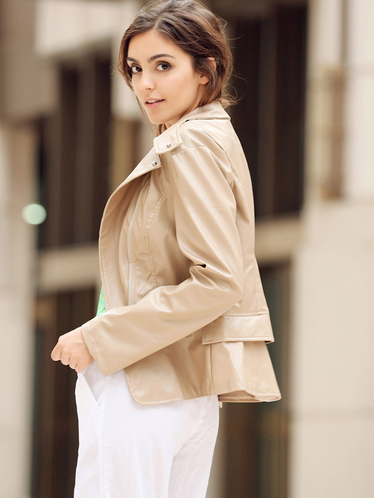 Fashionable Women's Turn-Down Collar Zippered Long Sleeve PU Leather Jacket - KHAKI M
