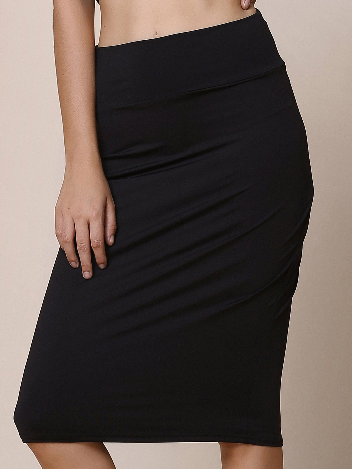 Work Style Solid Color High-Waisted Women's Midi Skirt - BLACK S
