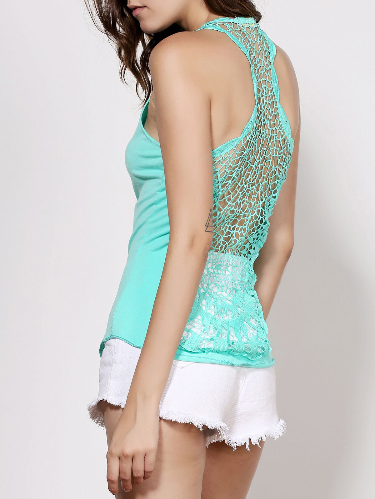 Endearing Round Neck Cut Out Lace Spliced Tank Top For Women - TIFFANY BLUE ONE SIZE(FIT SIZE XS TO M)