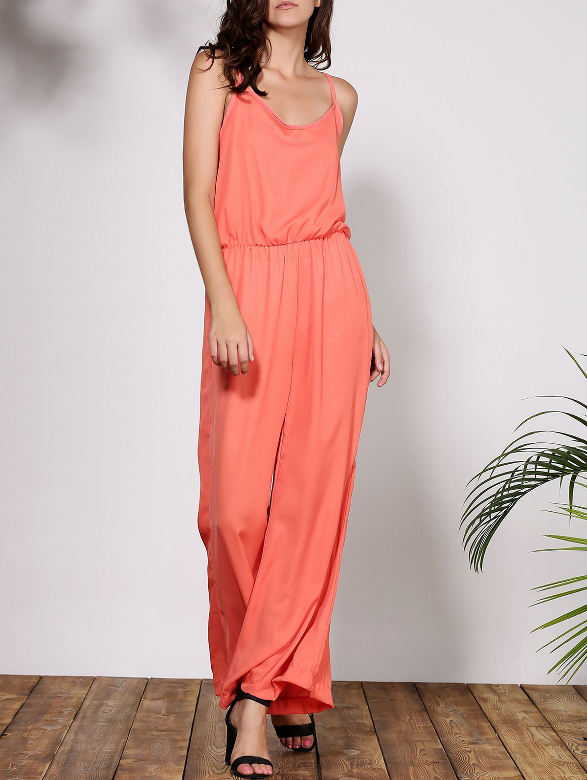 Stylish Solid Color Spaghetti Strap Women's Baggy Jumpsuit - ORANGE M