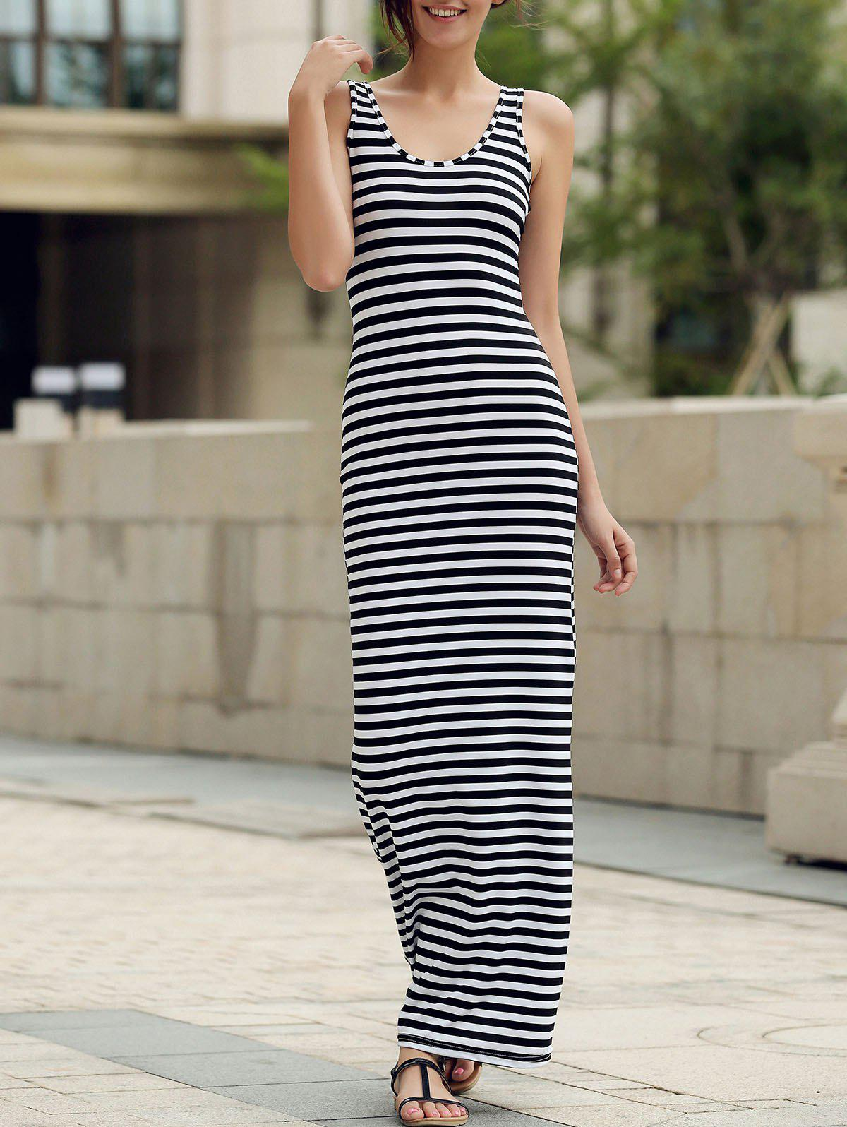 Trendy Style Scoop Neck Sleeveless Stripe Print Women's Maxi Dress - STRIPE S