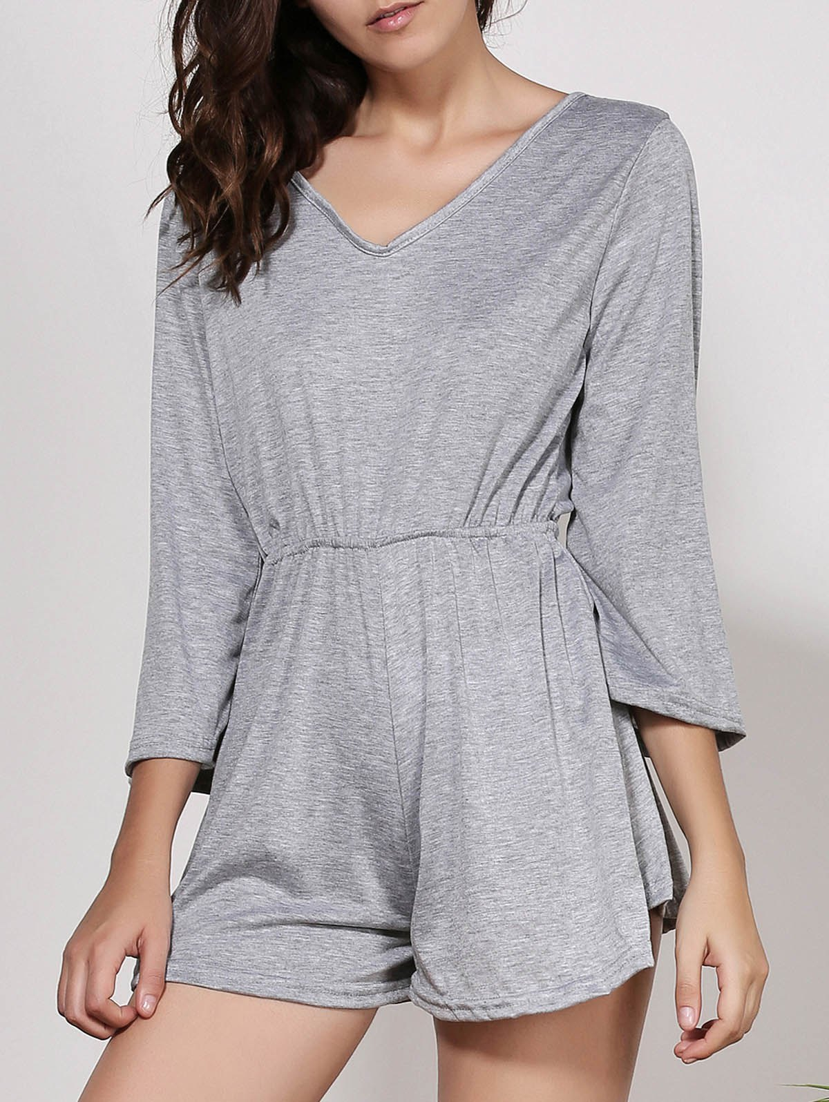 Stylish Women's V-Neck Flare Sleeve Solid Color Backless Romper - GRAY M