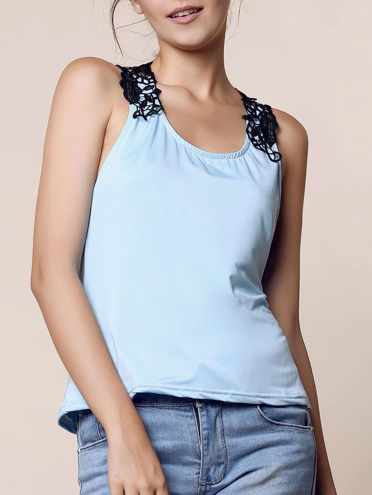 Trendy Style Scoop Neck Lace Splicing Backless Women's Tank Top - BLUE M