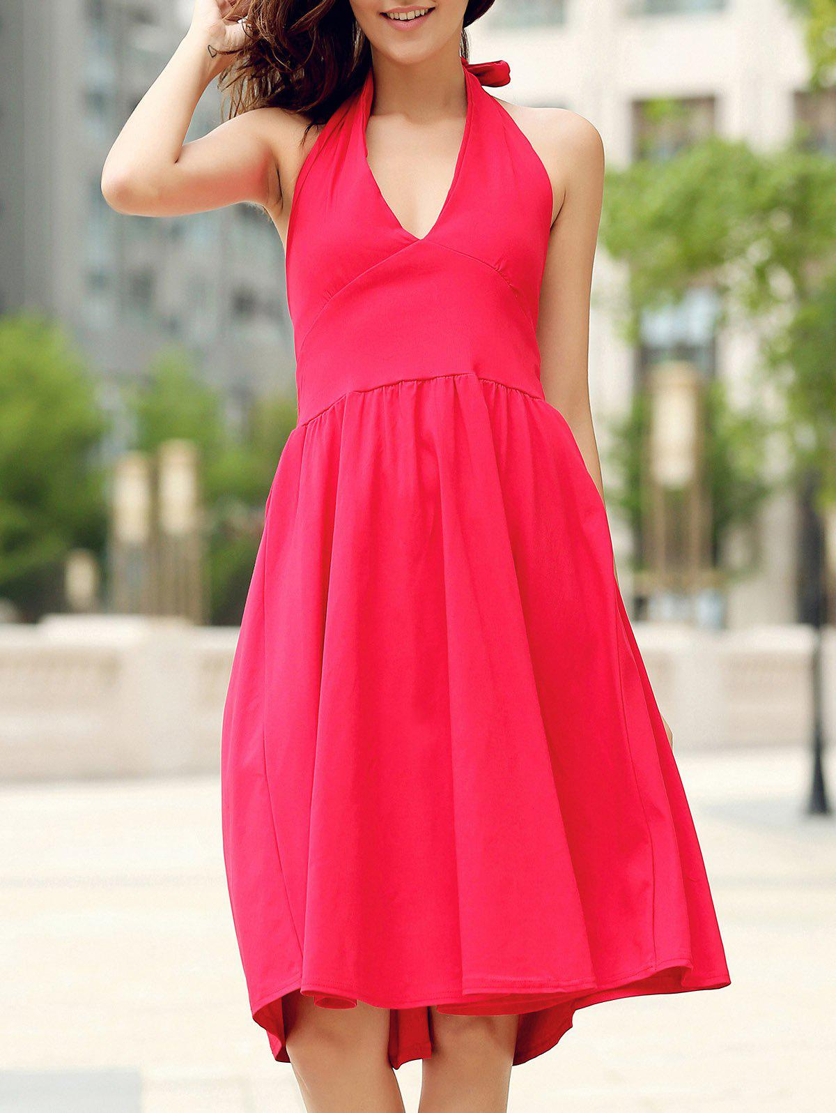 Halter Vintage Pure Color Dress Backless Flare pour les femmes - Rouge S