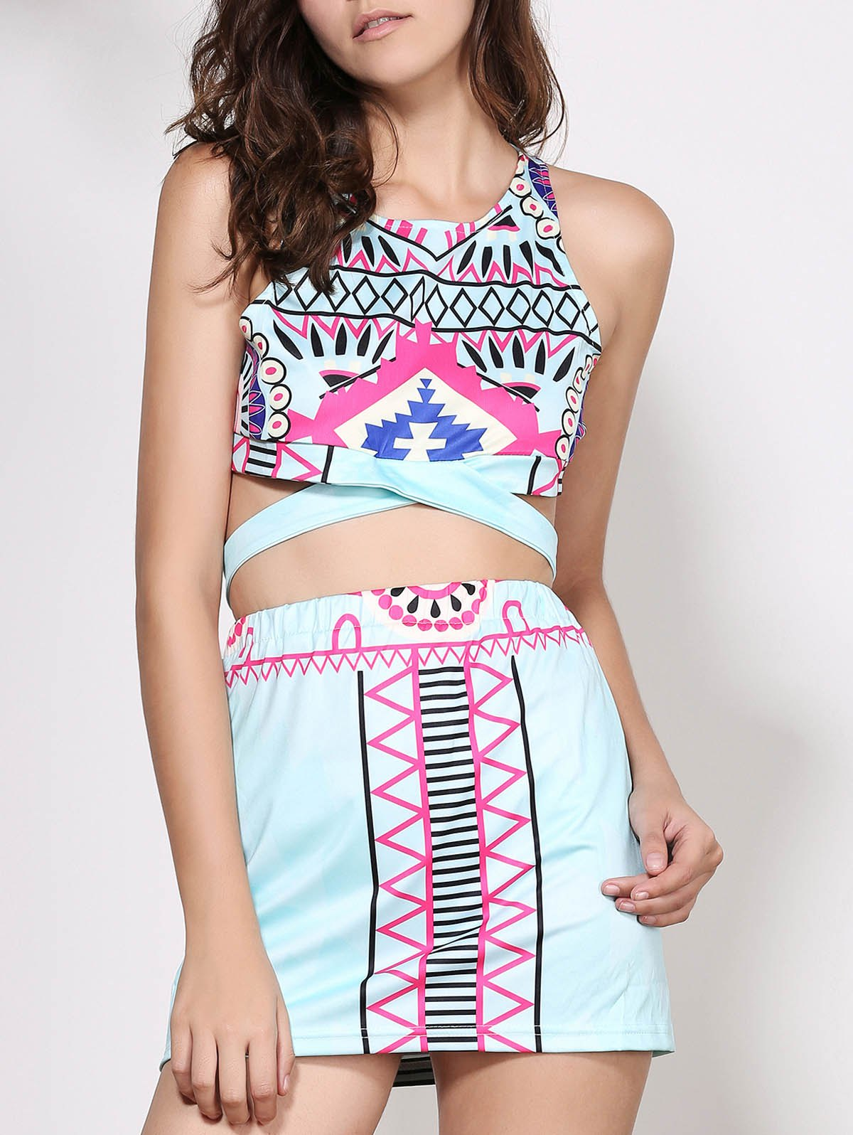 Stylish Sleeveless Round Neck Printed Crop Top + High-Waisted Skirt Women's Twinset - COLORMIX M