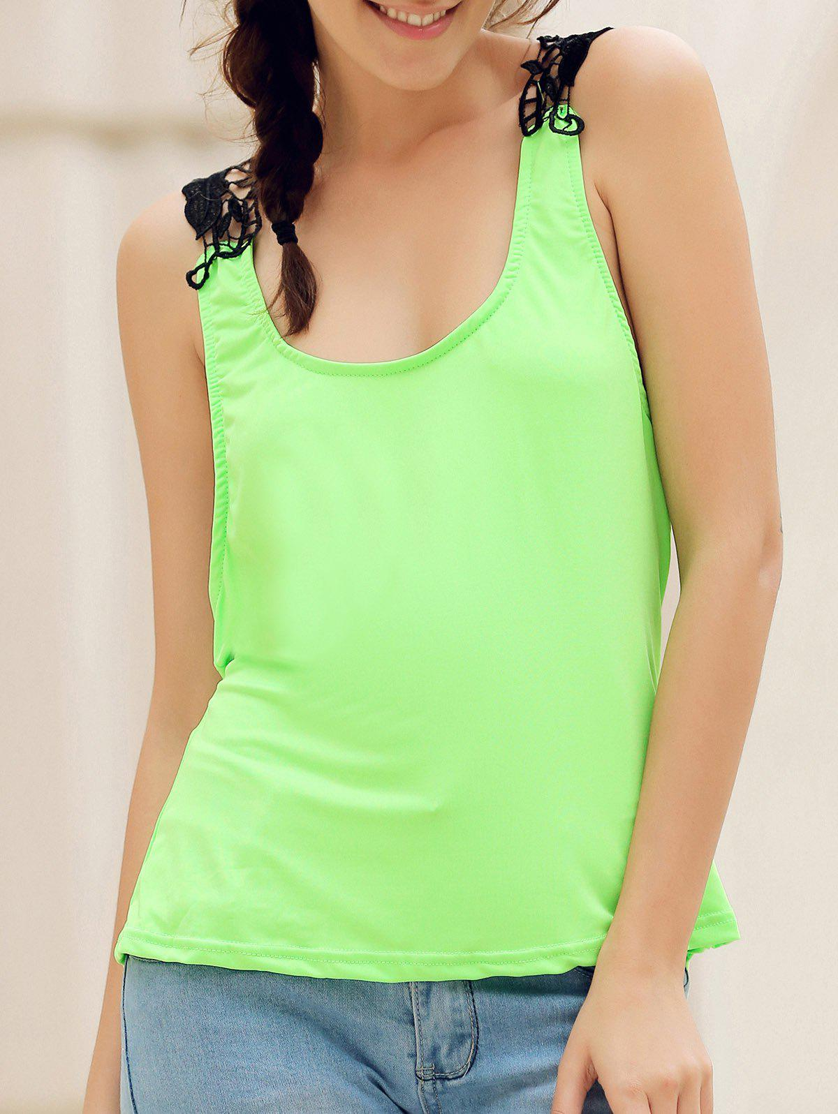 Trendy Style Scoop Neck Lace Splicing Backless Women's Tank Top - NEON GREEN M
