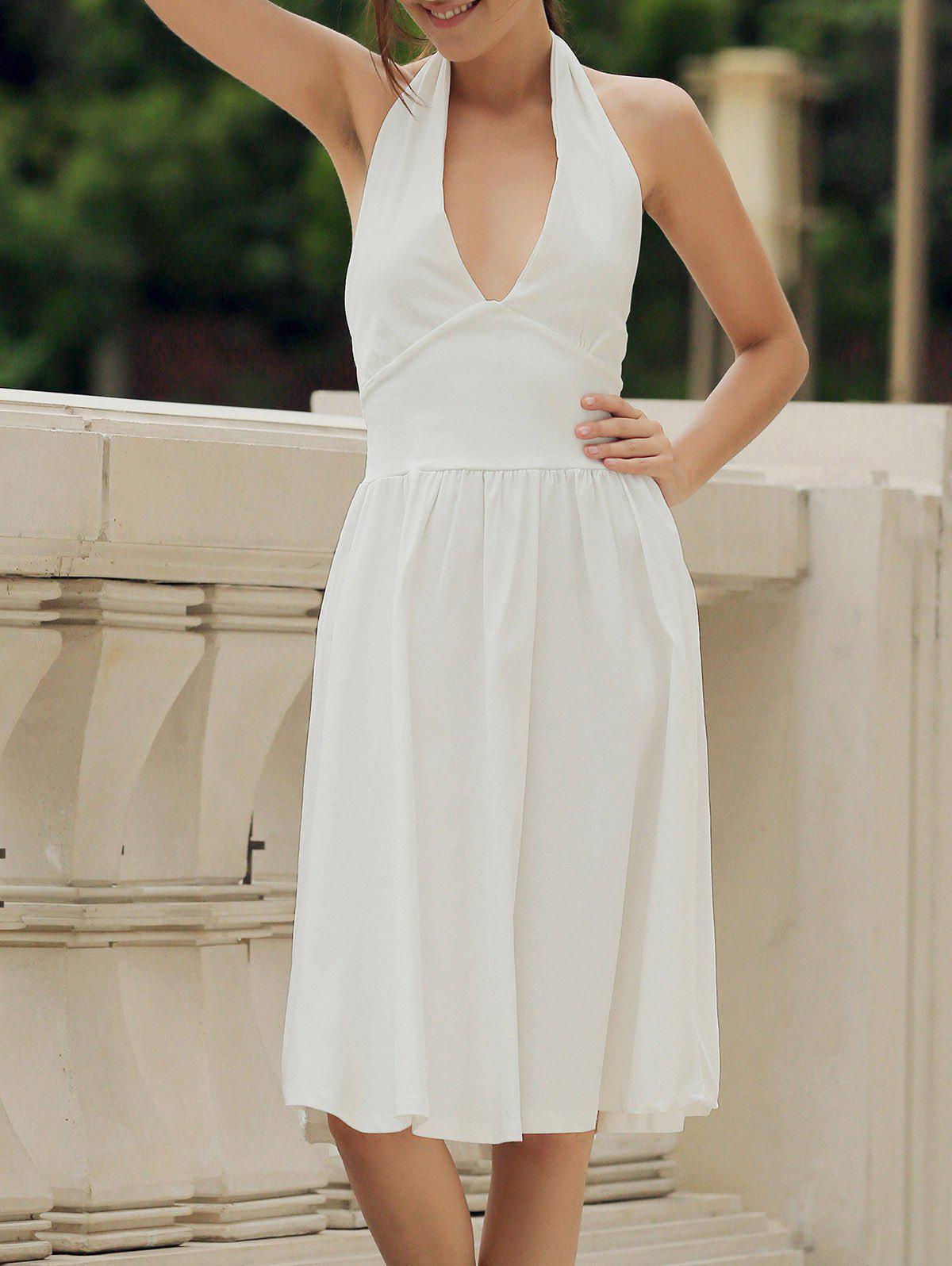 Vintage Halter Pure Color Backless Flare Dress For Women - WHITE 2XL