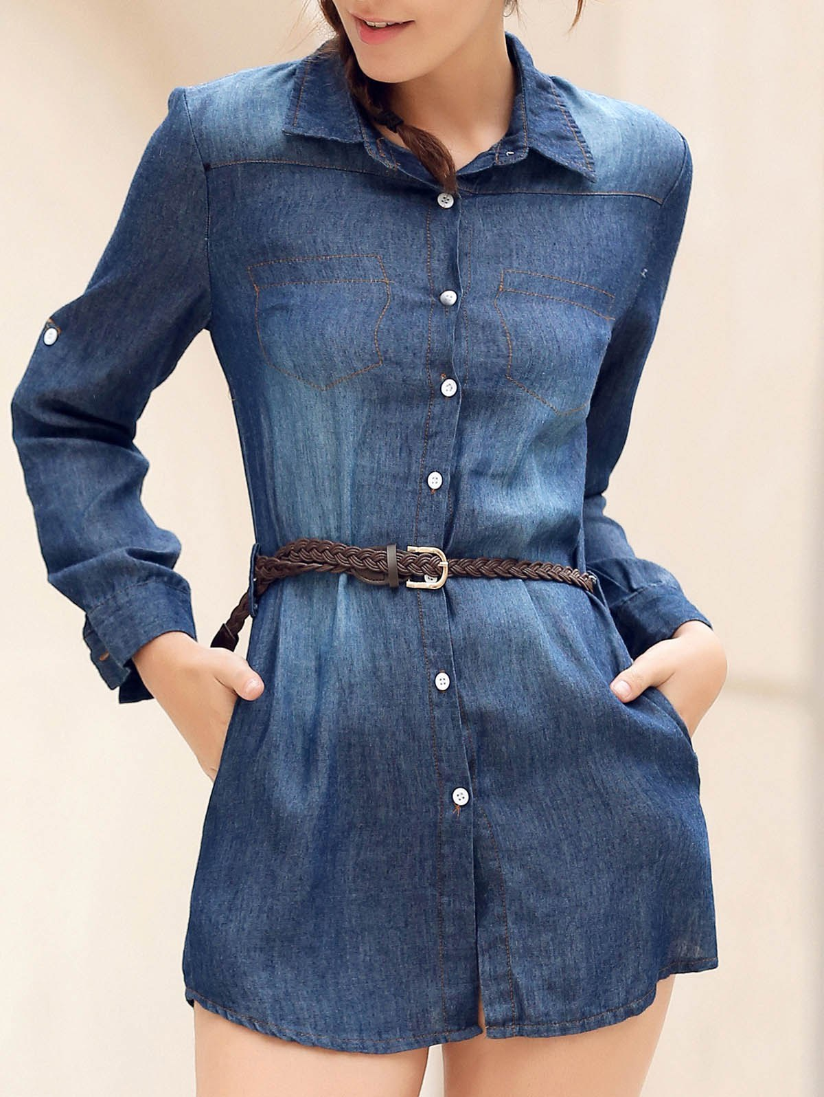 Mini Button Up Denim Shirt Dress with Pockets - BLUE S
