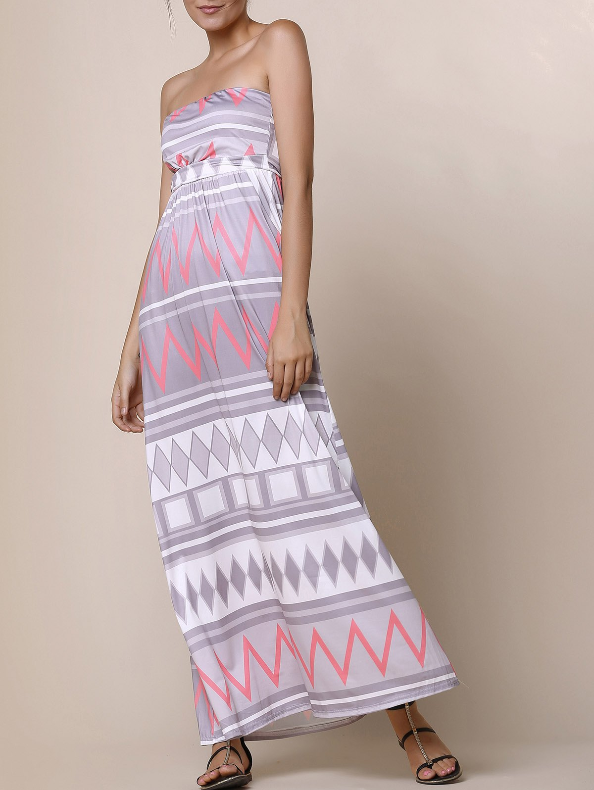Sexy Zigzag Strapless Sleeveless Dress For Women - COLORMIX M