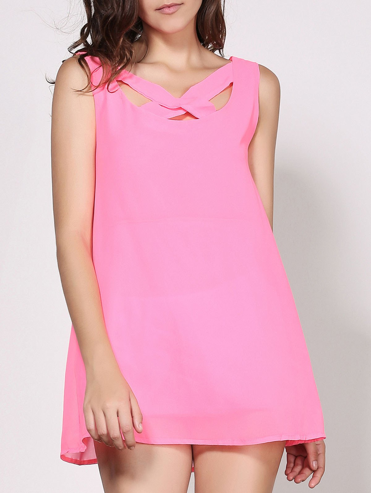 Sexy V-Neck Sleeveless Solid Color Cut Out Women's Dress - PINK S