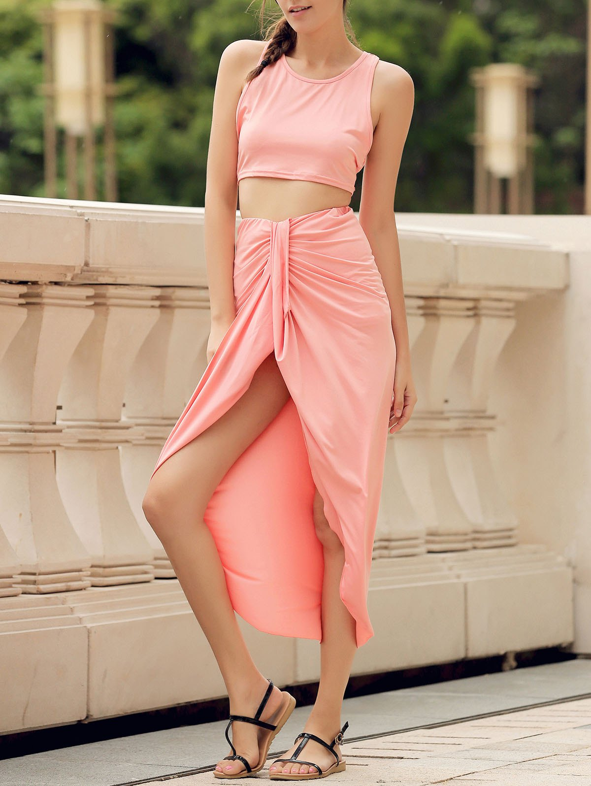 Sexy Candy Color Round Neck Crop Top and Irregular Skirt Two-Piece Set For Women - WATERMELON RED S