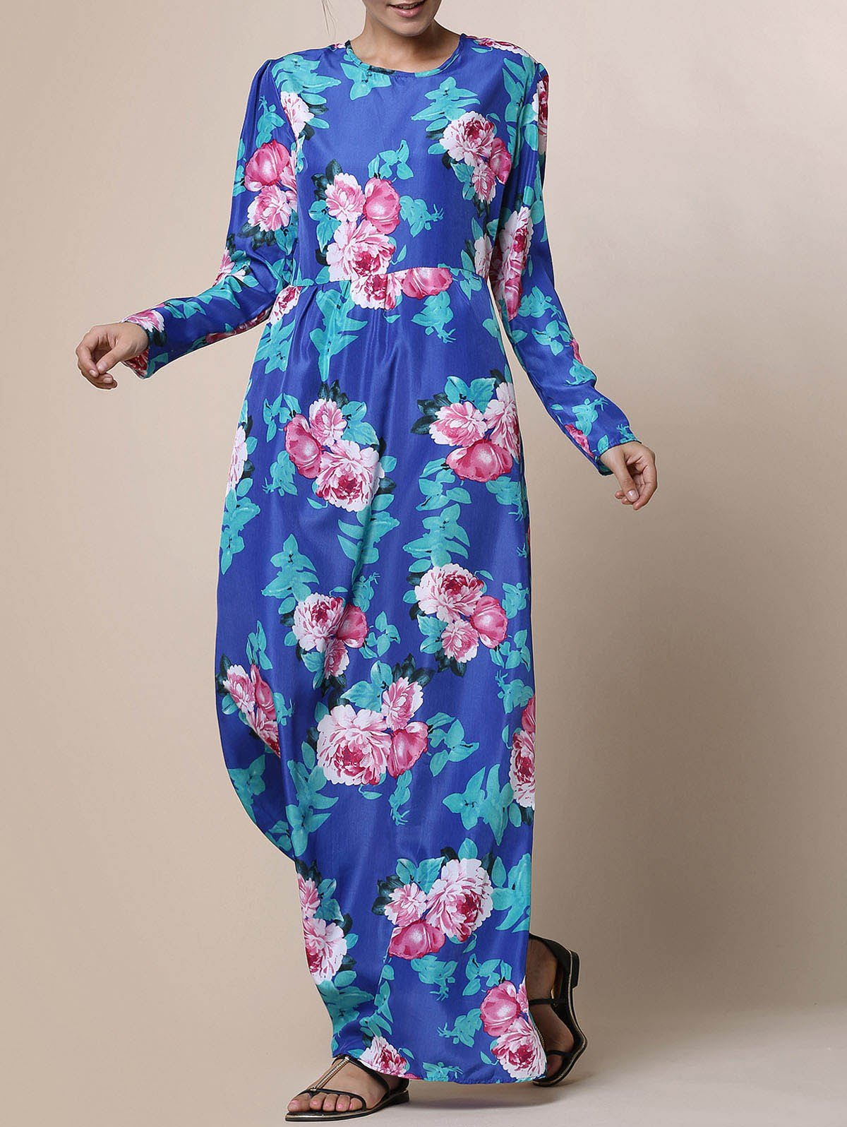Trendy 3/4 Sleeve Round Collar Floral Print Women's Maxi Dress