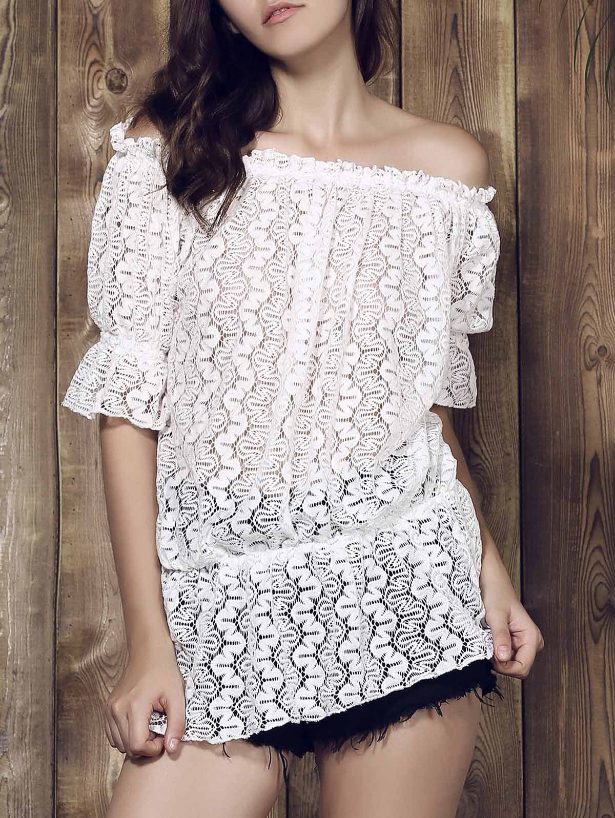 Stylish 3/4 Sleeve Slash Collar Solid Color Lace Women's Dress