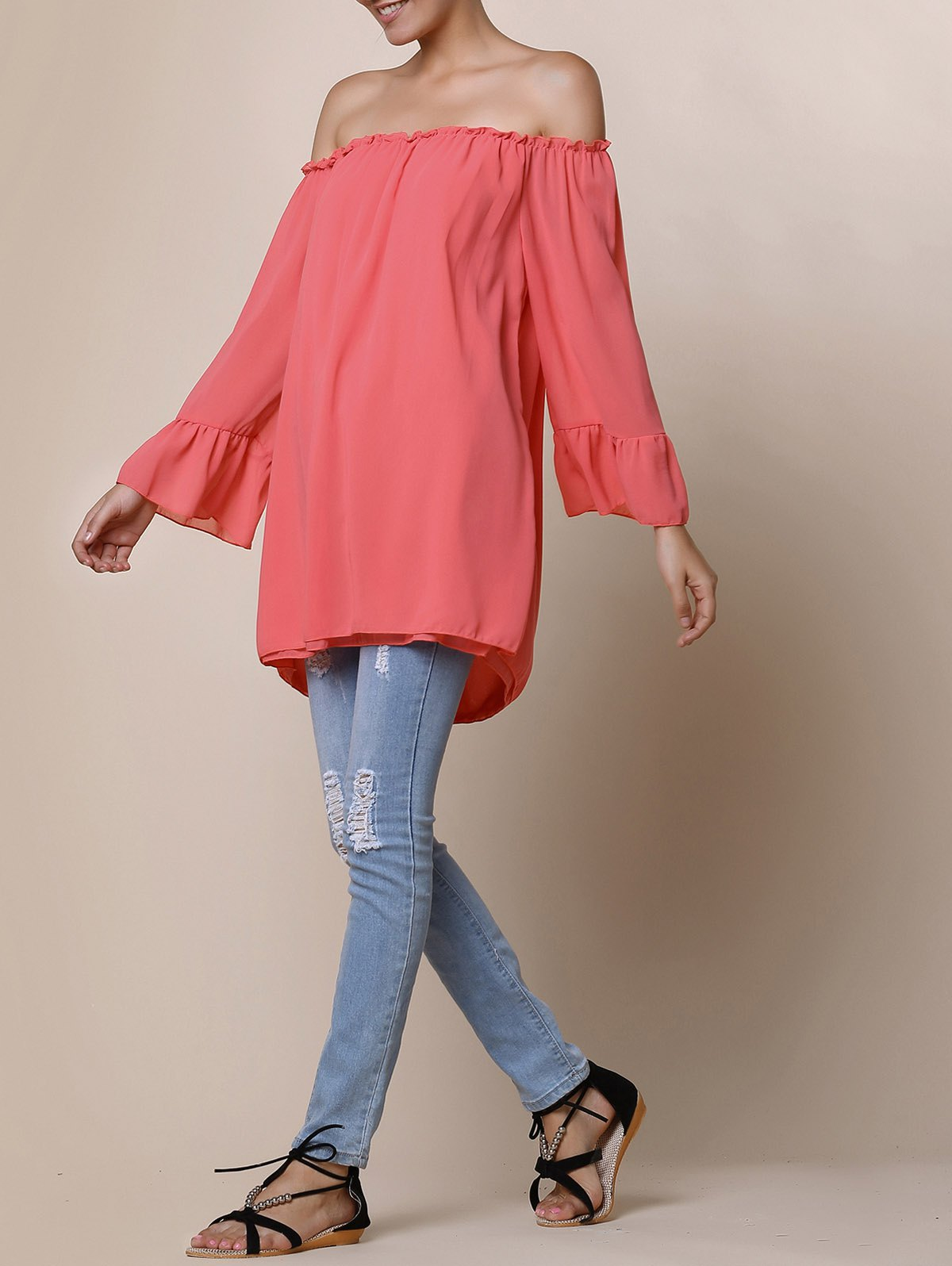 Endearing Off-The-Shoulder Pure Color Ruffled Blouse For Women - ORANGE RED XL