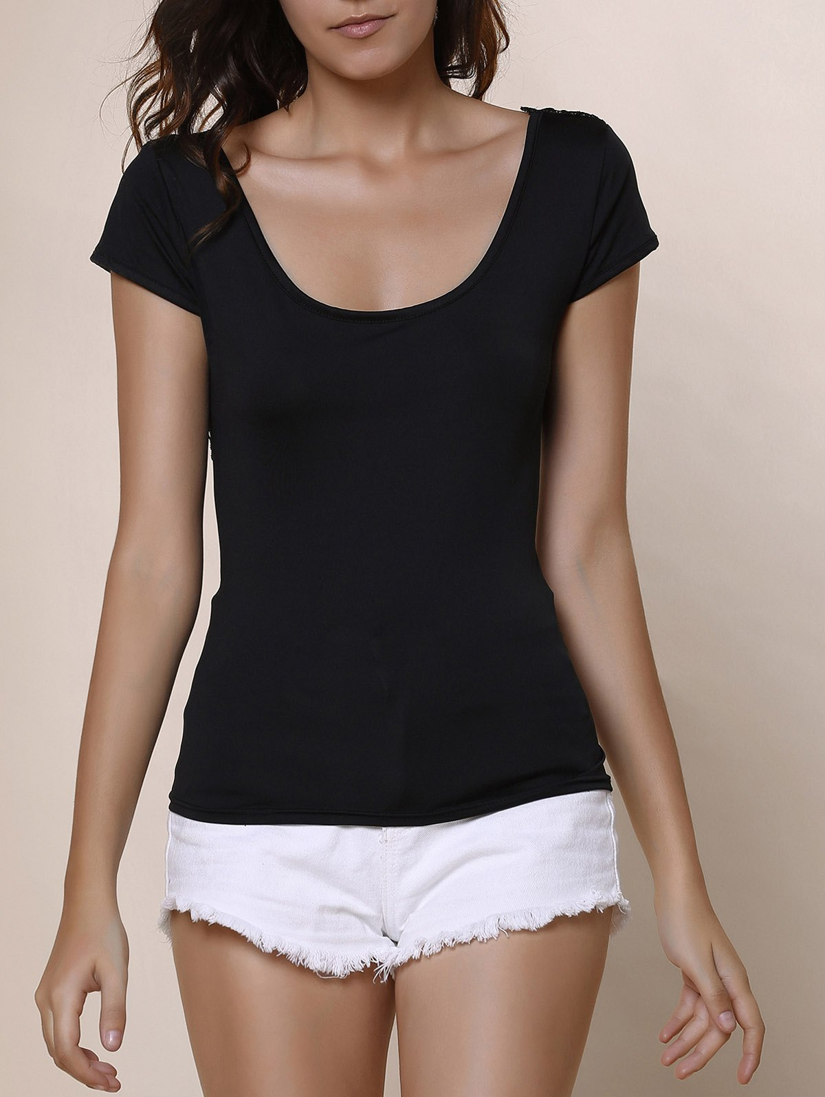Sexy Scoop Neck Pure Color Backless Lace Spliced Strappy T-Shirt For Women - BLACK XL