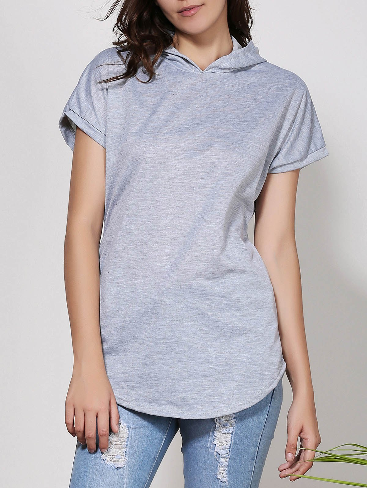 Stylish Hooded Short Sleeve Solid Color Asymmetrical Women's T-Shirt - GRAY M