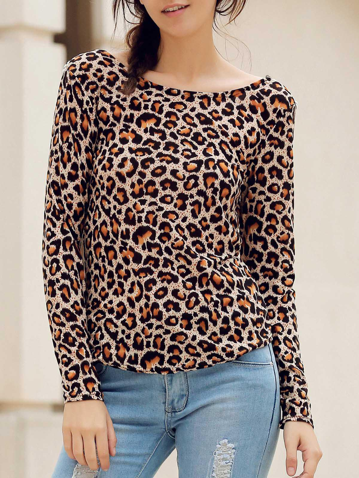 Stylish Round Neck Long Sleeve Backless Leopard Print Women's T-Shirt - S LEOPARD